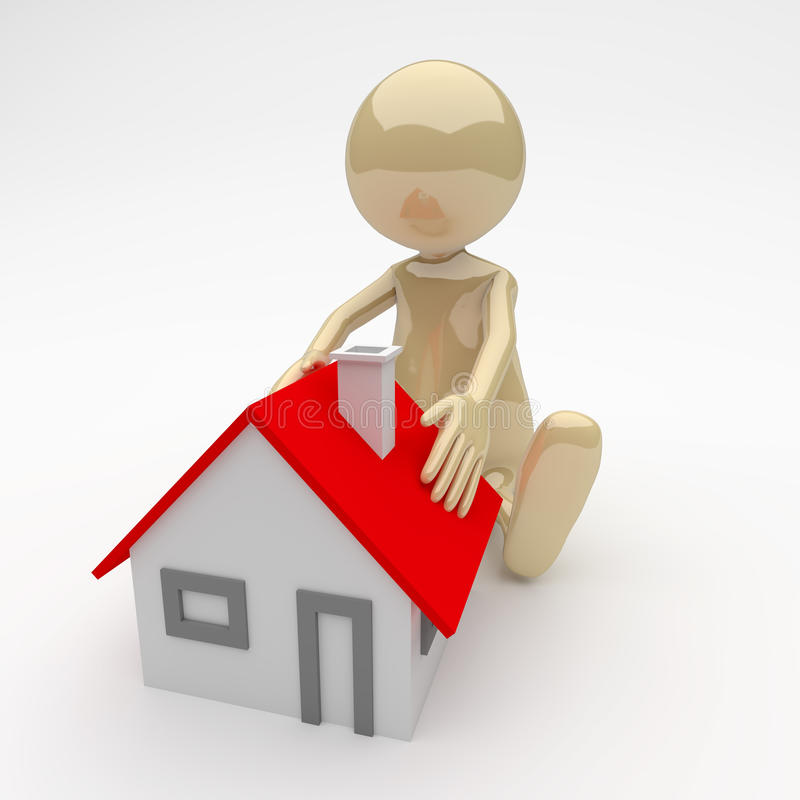 3D People Man with House stock illustration