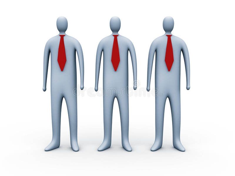 3d people with red ties stock images