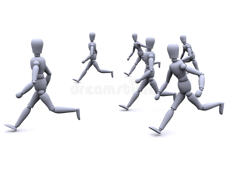 3d people running. 3d people are running as a group royalty free illustration