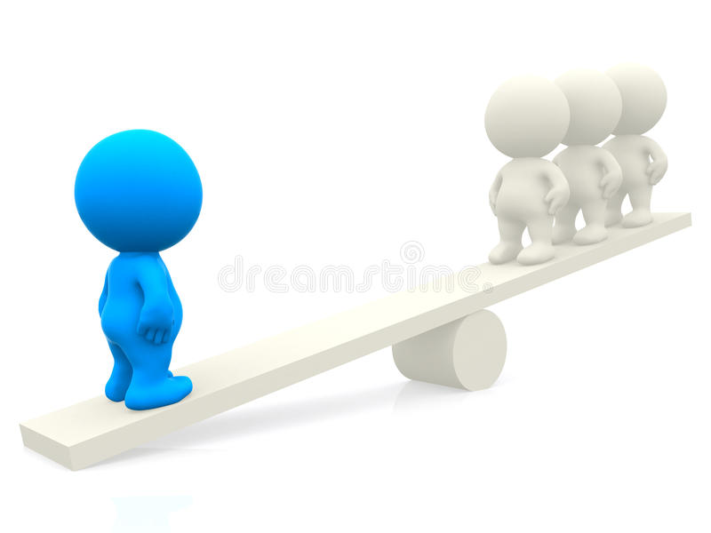 Download 3d people on seesaw stock illustration. Image of competition - 15520053