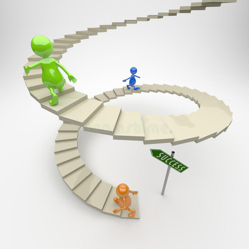3D People Stairs to Success. On Light Background vector illustration