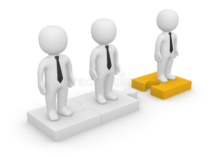 3d people standing on detached puzzle pieces royalty free illustration