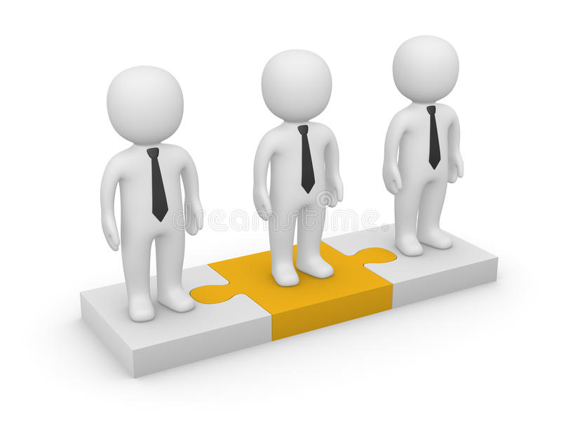 3d people standing on puzzle pieces royalty free illustration