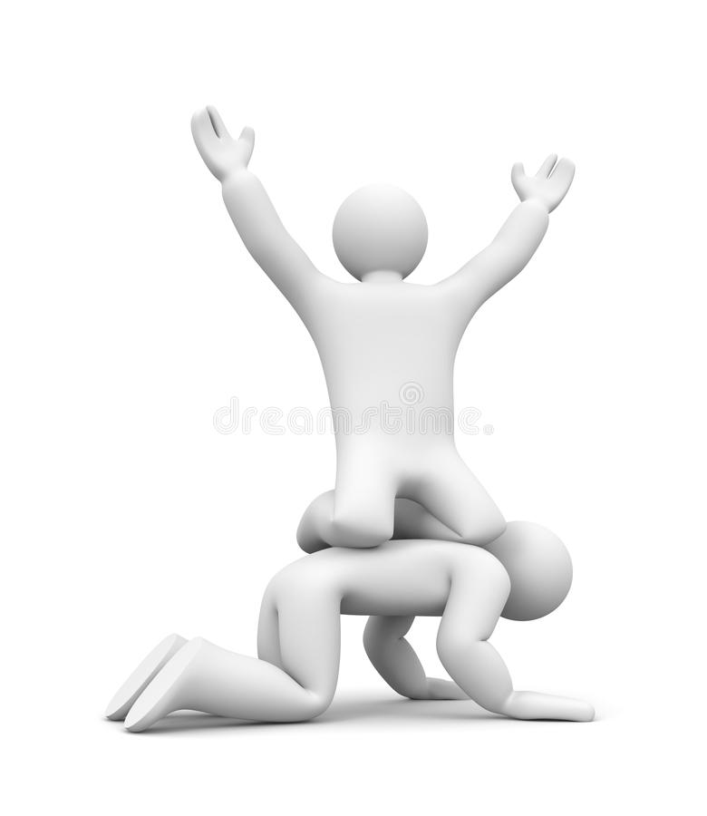 3d people success metaphor. Success concept. Separated on white vector illustration