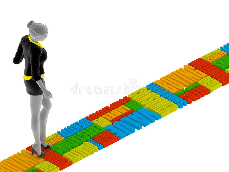 3d people woman walking on the words stock illustration