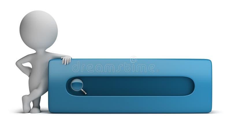 3d pequeña gente - barra de la búsqueda stock de ilustración