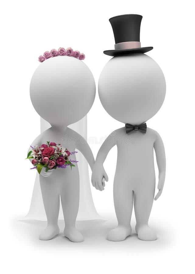 3d pequeña gente - boda stock de ilustración