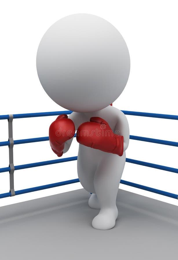 3d pequeña gente - boxeador en un anillo stock de ilustración