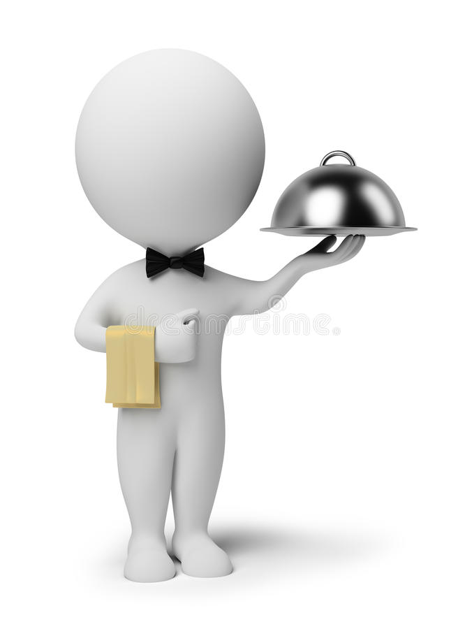 3d pequeña gente - camarero libre illustration