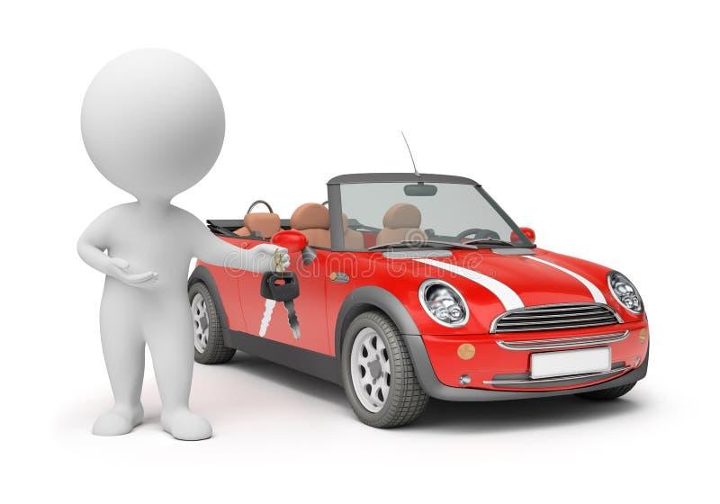 3d pequeña gente - claves del coche ilustración del vector