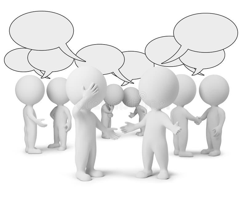 3d pequeña gente - discusión stock de ilustración