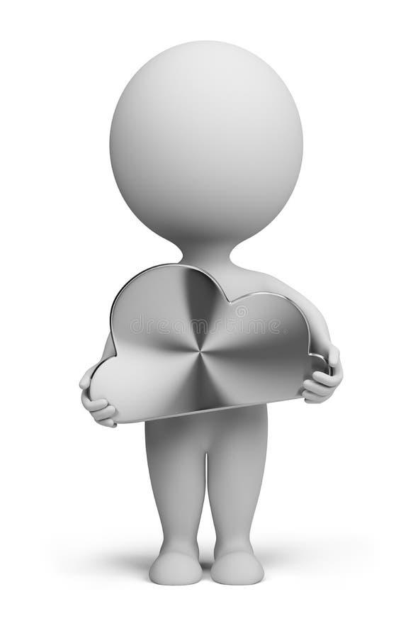 3d pequeña gente - nube de acero stock de ilustración
