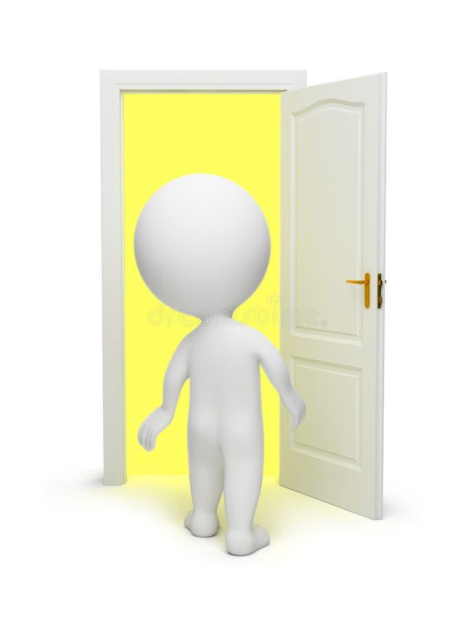3d pequeña gente - puerta abierta ilustración del vector