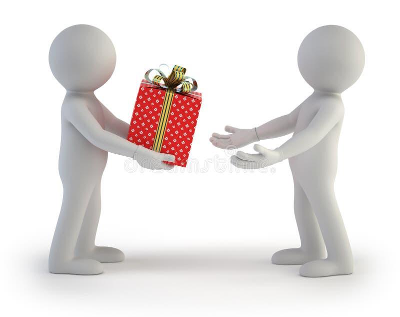 3d pequeña gente - rectángulo de regalo stock de ilustración