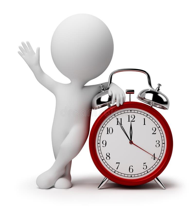 3d pequeña gente - reloj de alarma stock de ilustración