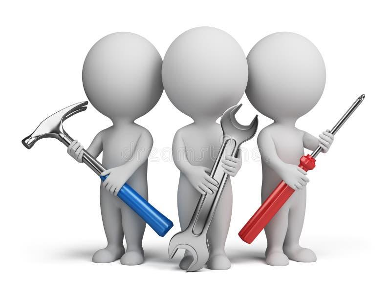3d pequeña gente - reparadores stock de ilustración