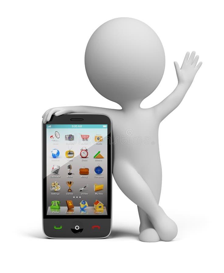 3d pequeña gente - smartphone stock de ilustración