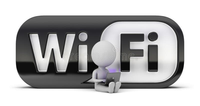 3d pequeña gente - wifi stock de ilustración