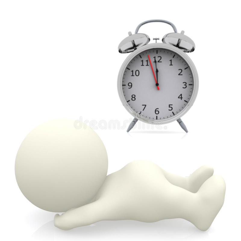 3D person with alarm clock