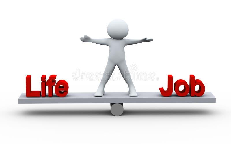 3d person balancing life and job royalty free illustration