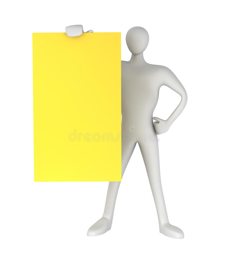 Download 3d Person With Blank Yellow Card Stock Illustration - Illustration: 21996086