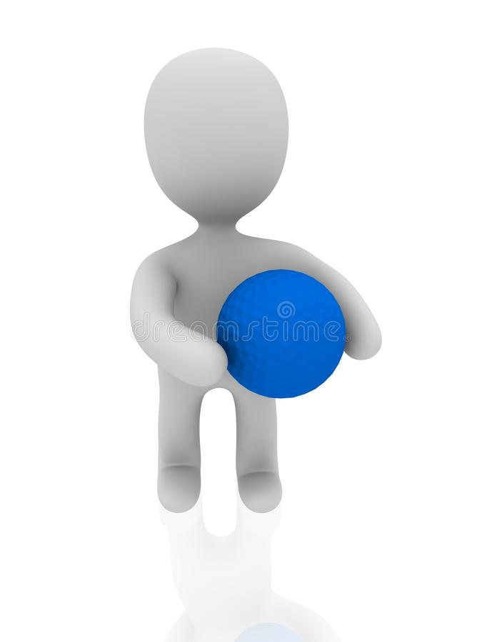 Download 3d Person With Blue Golf Ball Stock Photo - Image of shooting, design: 17826456