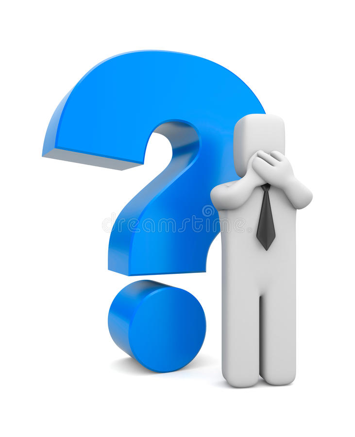 Download 3d Person Businessman With Blue Question Mark Stock Illustration - Image: 24414265