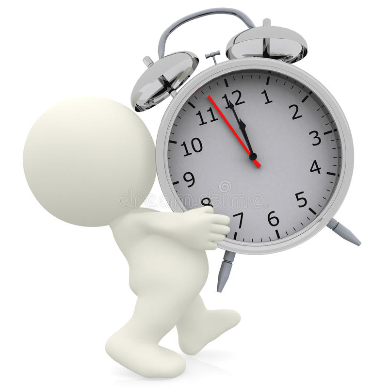Download 3D Person Carrying An Alarm Clock Stock Illustration - Image: 13881452