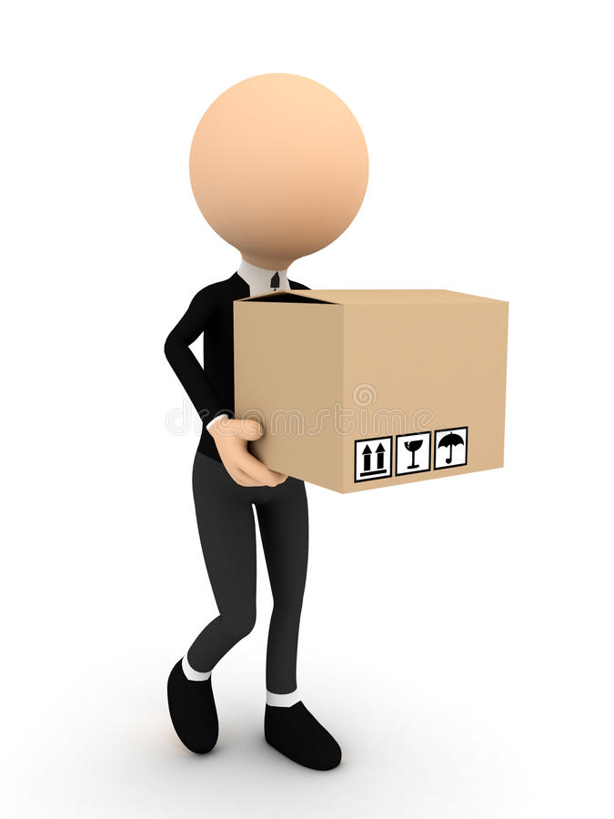 Download 3d Person With Carton Package Stock Illustration - Image: 22745450