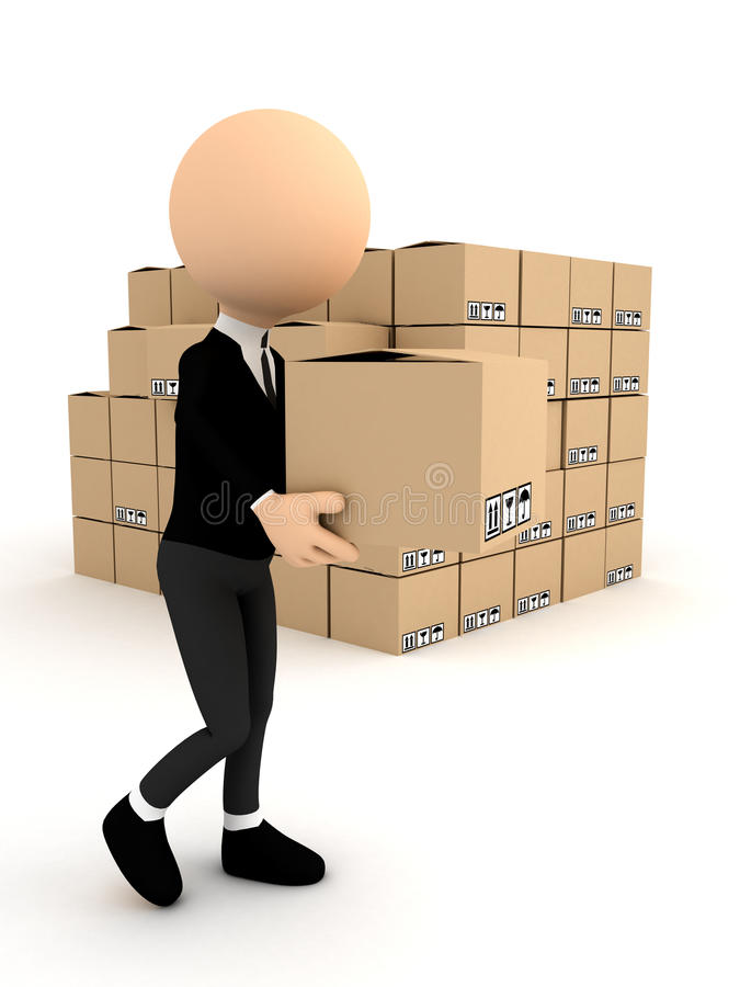 Download 3d Person With Carton Package Stock Illustration - Illustration: 22745466