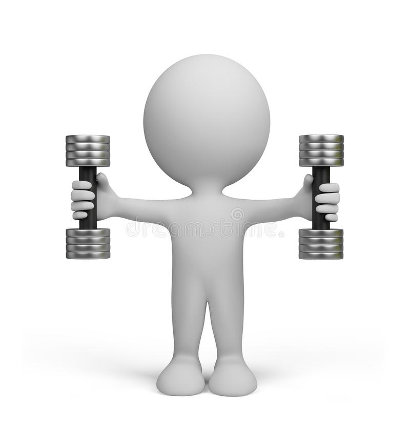 3d person with dumbbells. 3d image. White background royalty free illustration
