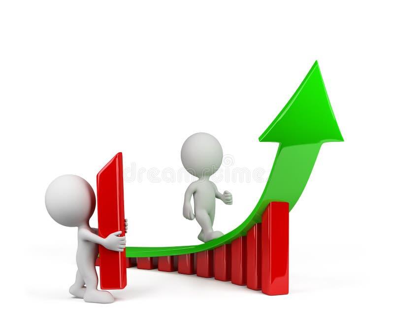 3d Person - ein Tendenzwachstum stock abbildung