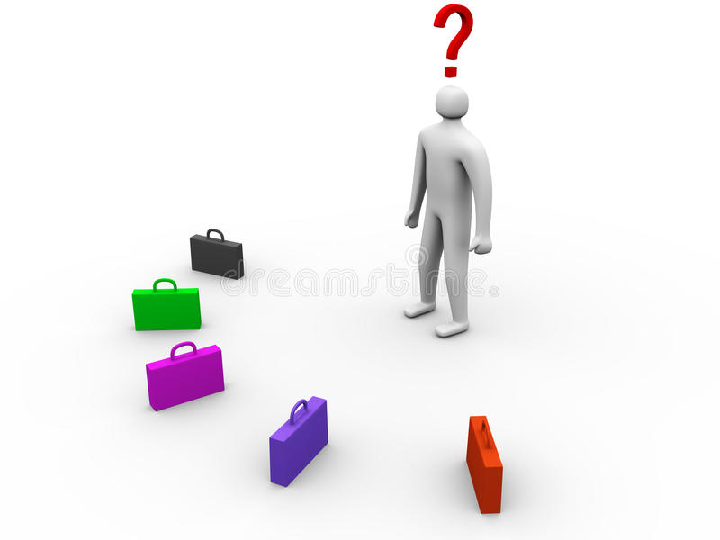 3d person in front of multicolor cases stock illustration