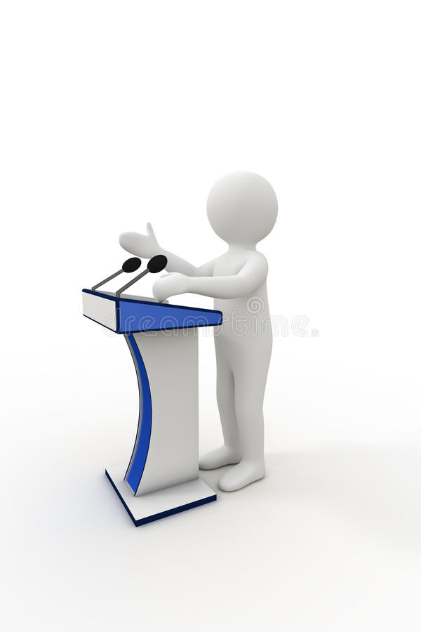 3d person giving a speech royalty free illustration
