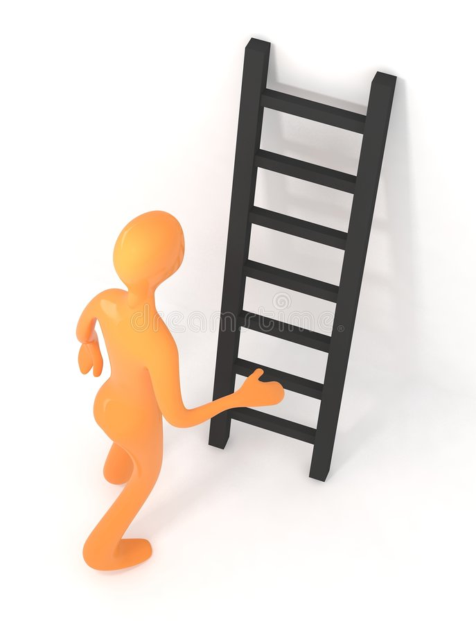 Download 3d Person Is Going To Climb Upon Ladder Stock Illustration - Illustration of climbing, simple: 8126904