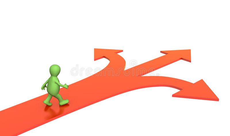 Download 3d Person, Going To A Fork Of Three Roads Royalty Free Stock Photography - Image: 5473237