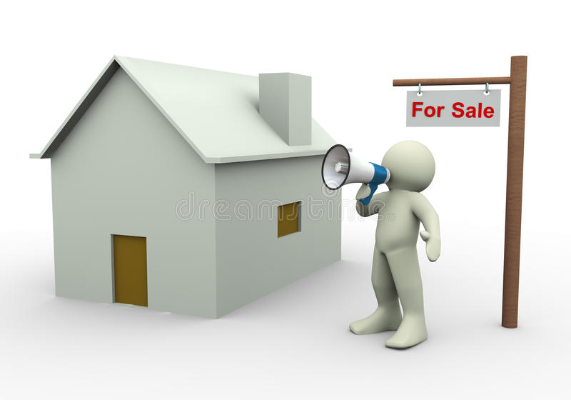 3d Person - Haus für Verkauf lizenzfreie abbildung