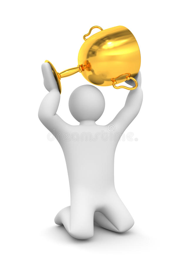 3d person hold gold cup. Success concept. Separated on white royalty free illustration