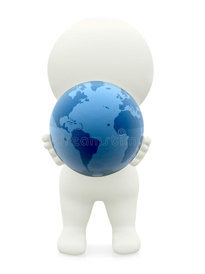 3D person holding the Earth