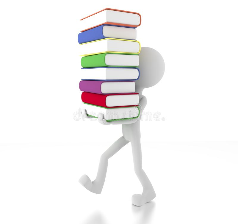 Download 3d Person Holding Many Books Stock Illustration - Illustration of plenty, purple: 26043925