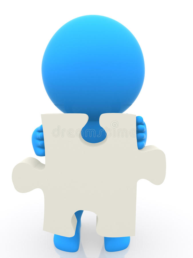 Download 3D Person Holding The Piece Of A Puzzle Stock Illustration - Image: 13882002