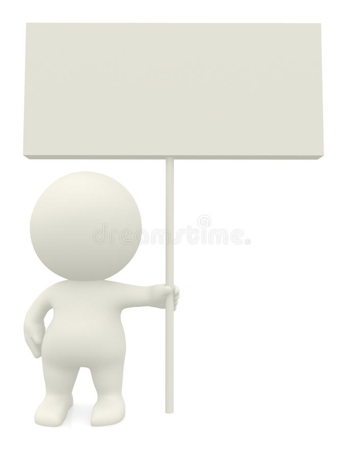 3D person holding a sign