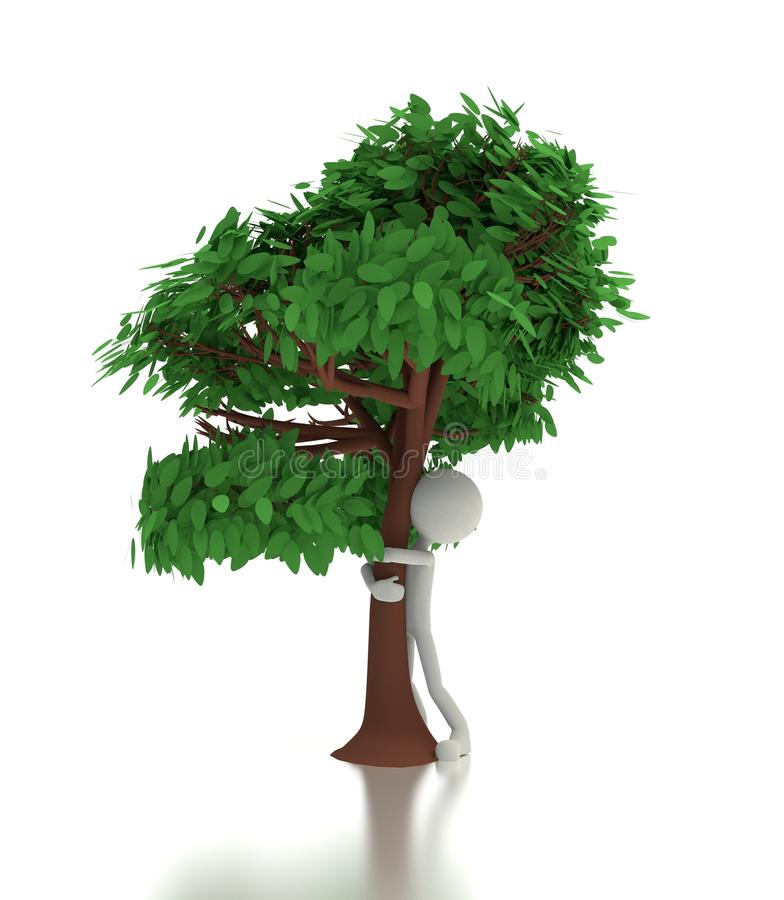 Download 3d person hugs a tree stock illustration. Image of protection - 26047540
