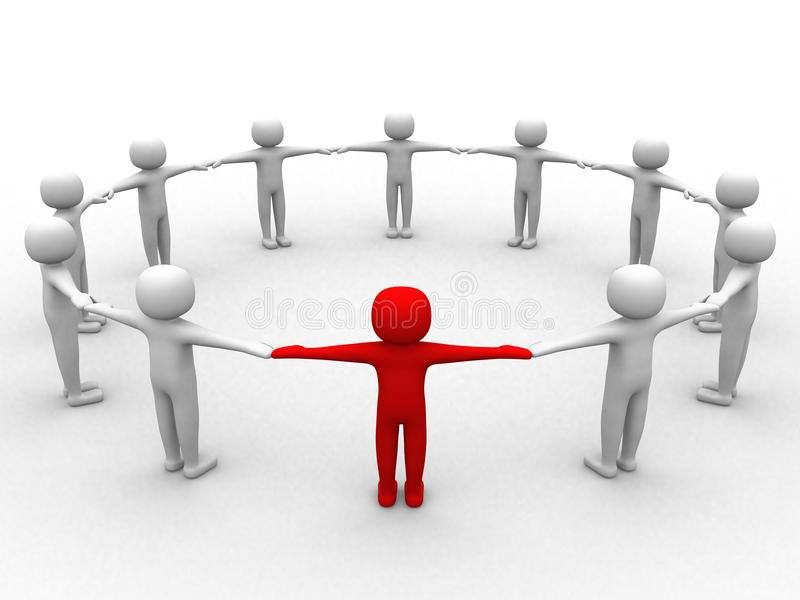 3d Person, Leadership And People In Circle Royalty Free Stock Photo