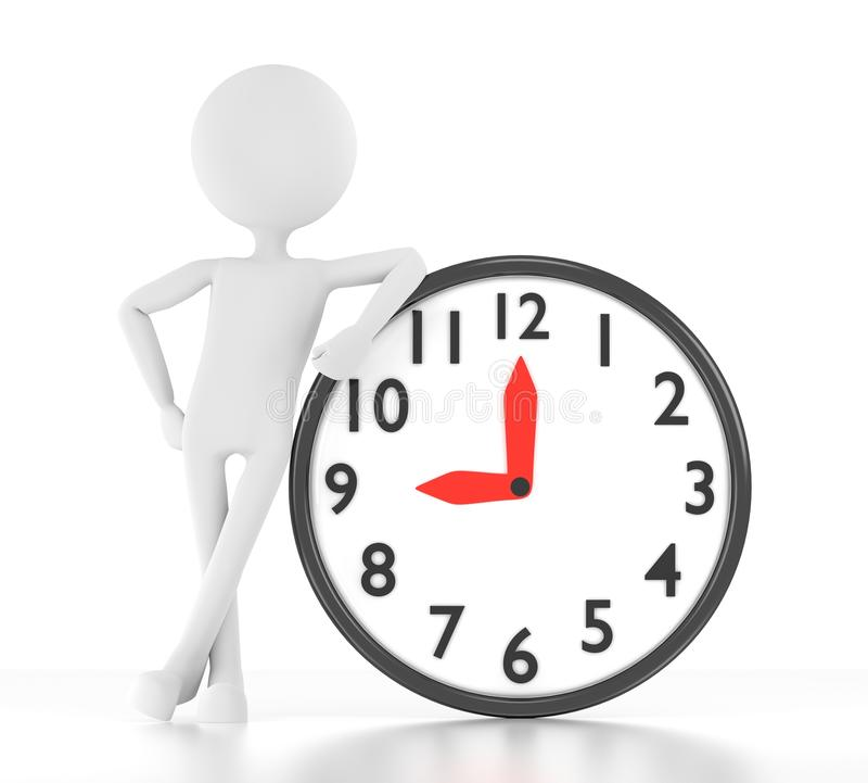 Download 3d Person Leans On Clock That Says 9:00 Stock Illustration - Image: 25973917