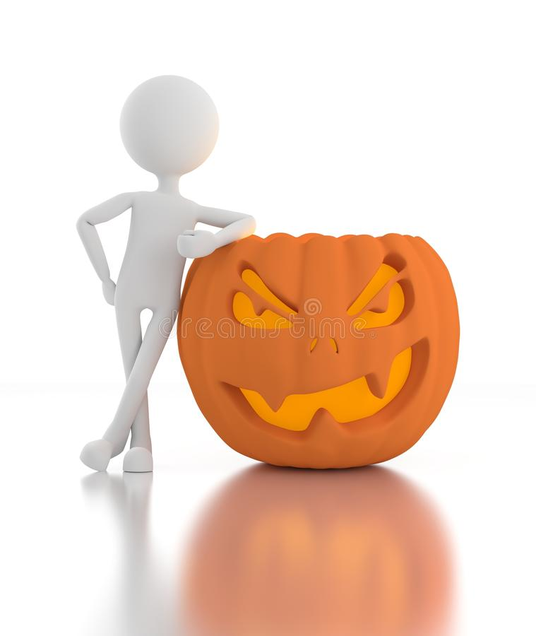 Download 3d Person Leans On Jack O Lanterns Stock Illustration - Image: 26141366