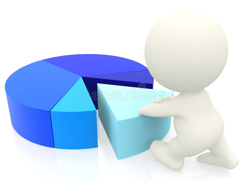 3D person with a pie chart