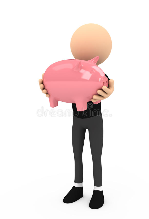 3d person with piggy bank on white background stock illustration