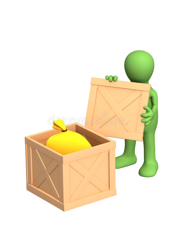 The 3d person - puppet, opening a sending stock illustration