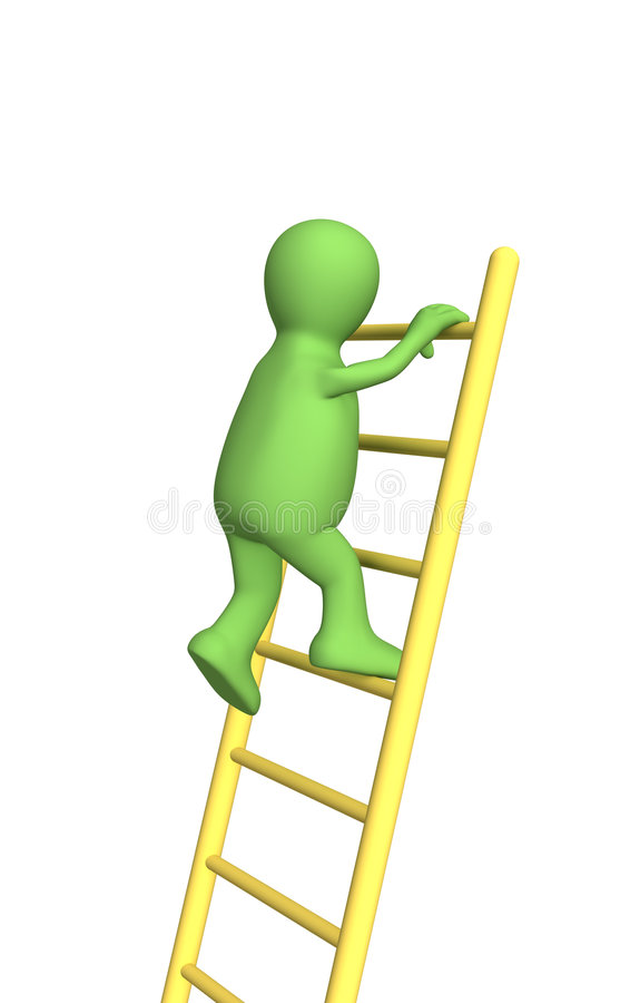 3d person - puppet, rising upwards on a ladder royalty free stock photos